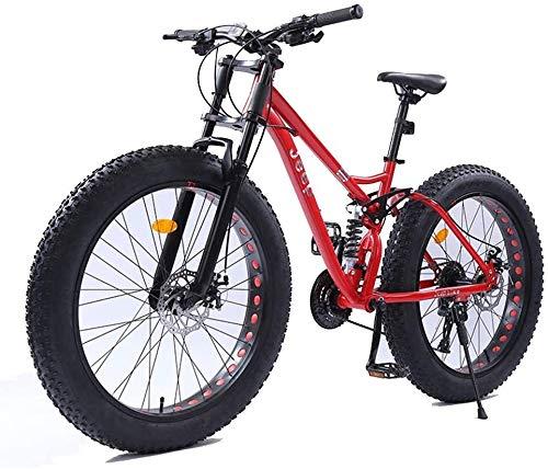 Xiaoyue 26-Zoll-Frauen Mountainbikes, Doppelscheibenbremse Fat Tire Mountain Trail Bike, Hardtail Mountainbike, Verstellbarer Sitz Fahrrad, High-Carbon Stahlrahmen, Rot, 24-Gang lalay