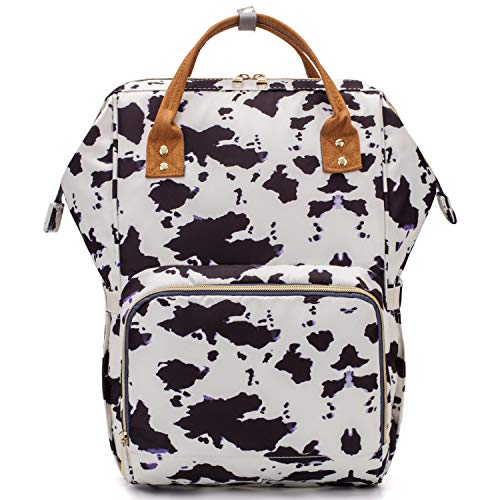 Cow Print Diaper Bag Backpack for Baby Girls Mom, Womens Large Maternity Nappy Bags
