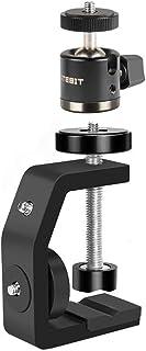UTEBIT クランプ カメラ 雲台 セット 1/4ネジ付き 耐荷重3kg 強化アルミ製 三脚 ボールヘッド シュー付き 任意幅60mm以下のホルダーに設置可能 写真/ビデオ 撮影 ストロボ/フラッシュ/一眼レフ/自由雲台 ライトスタンド用