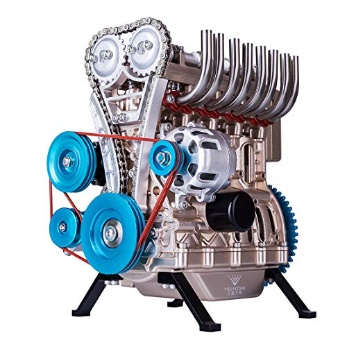 Yamix Full Metal Engine Model Desk Engine, Unassembled 4 Cylinder Inline Car Engine Model Building Kit Mini DIY Engine Model Toy for Adults