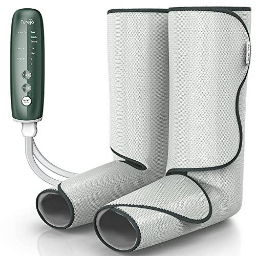 Massaggiatore per Gambe, Turejo Massaggiatore per Gambe per Massaggi e Relax, Massaggiatore per Piedi a Compressione d'aria, Velcro rResistente e Terapia a Infrarossi
