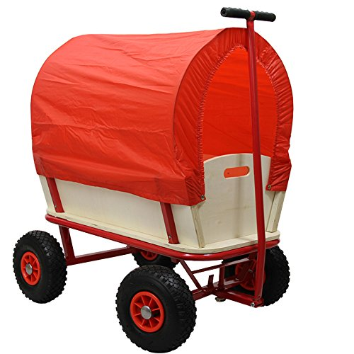 HELO Bollerwagen Handwagen 150 kg Tragkraft mit Dach (Rot) und Luftreifen, Stahlrohrkonstruktion mit verstärkter Ablagefläche - (L/B/H): 94 x 62 x 50 cm - Gestell: Rot / Plane: Rot