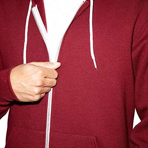 American Apparel Unisex's Flex Fleece Long Sleeve Zip Hoodie Hooded Sweatshirt, Cranberry, Large