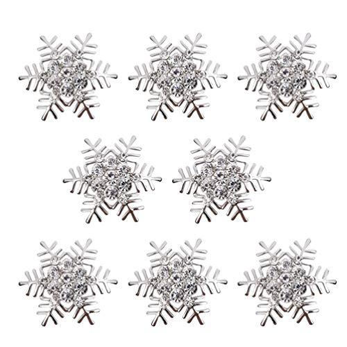 BESTonZON Serviettenringe Weihnachten Schneeflocke Serviettenhalter Serviettenringe Servietten Schnallen für den Esstisch 8er-Set