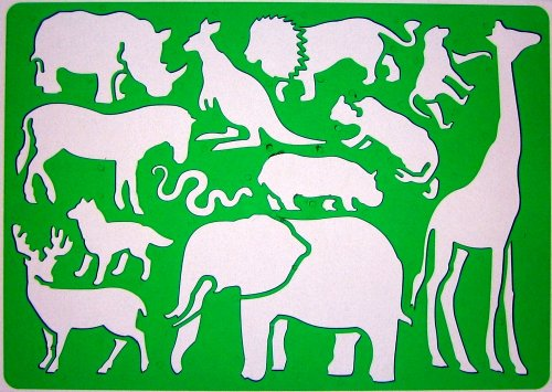 Safari Afrikaner Tiere Schablone Zeichenschablone - Elefant Giraffe Löwe Känguru Pferd Hirsch Schlange Wolf Nashorn Affen