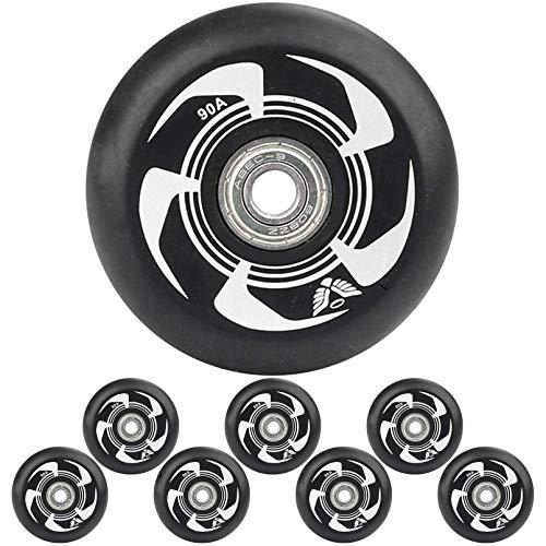 Ti-Fa Single Wheel Sneaker Schuhe 8 STK, Inline Skate Wheels 90A 72Mm 76Mm 80Mm Inline Skates Ersatzrad mit ABEC-9 Lagern,Outdoor-Ersatz-PU-Rad,Schwarz,72mm