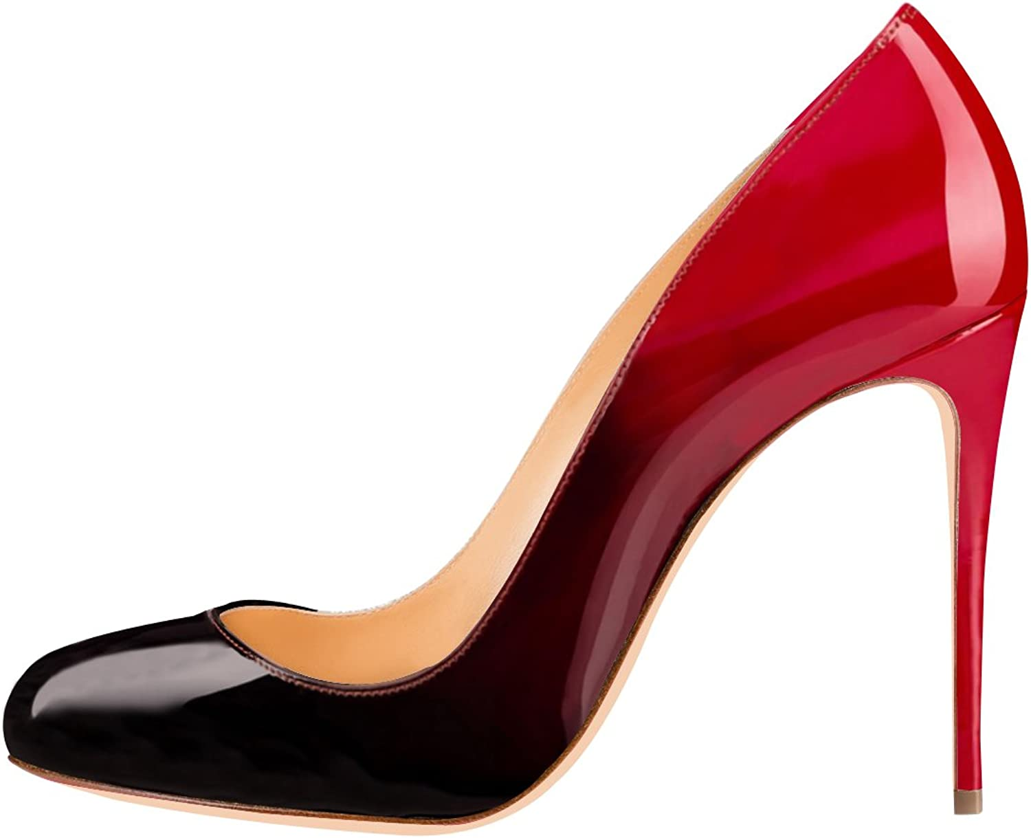 Joogo Womens Classic Round Toe High Heel Stiletto Multicolord Dress Pumps Court shoes for Wedding Party Black and Red