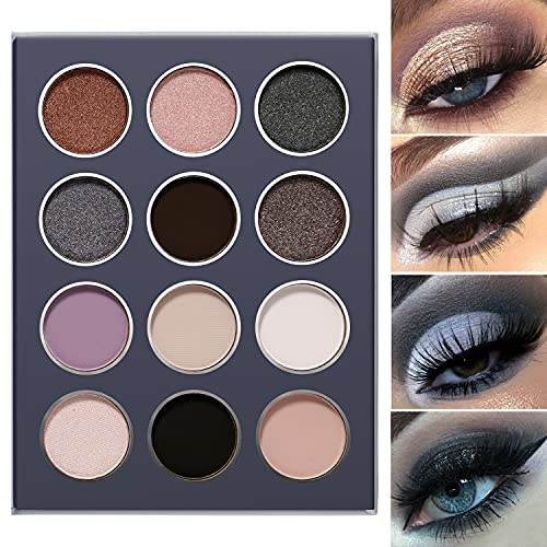 Smokey Grey Eyeshadow Palette, DE'LANCI Professional Black Silver Gray Goth Neutral Matte Shimmer 12 Shades, Subtle Eyes Shadows Makeup Pallet, High Pigmented Waterproof Small and Cute Makeup Pallete