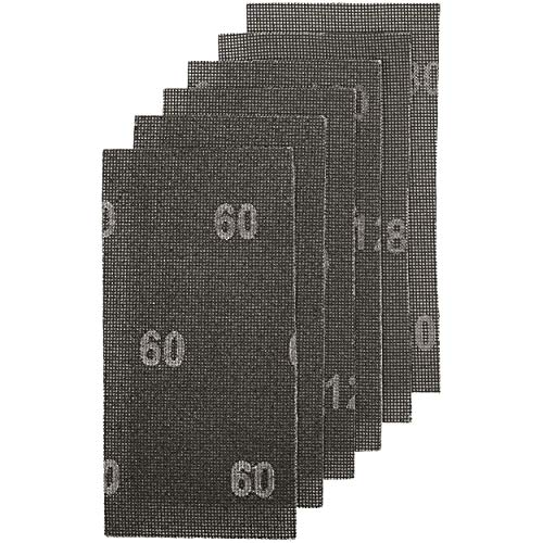 LUX-TOOLS Gitterleinen-Set 115mm x 230mm mit Klett & verschiedenen Körnungen (K60, K120, K180), 6-teilig | 6 Schleifgitter für Schwingschleifer zur Bearbeitung von Holz, Metall, Putz & Rigips