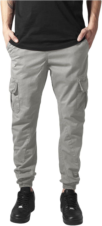 Mens Casual Jogger Sweatpants Pants Leisure Sports Slim-Fitting Foot Binding Multi-Pocket Trousers Pants Elastic Waist