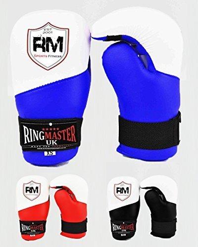 RingMasterUK Semi Contatto Guanti Punto Open Palm Taekwondo Kickboxing Formazione, Blue, S