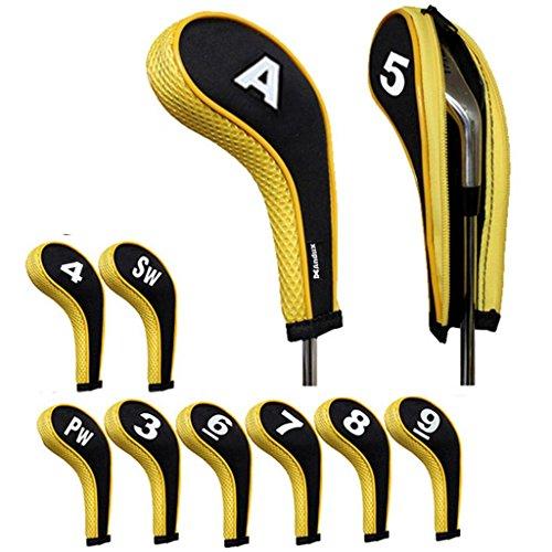 Andux numéro capuchon de golf avez nuque long zippé 10pcs Noir /Jaune MT/w06