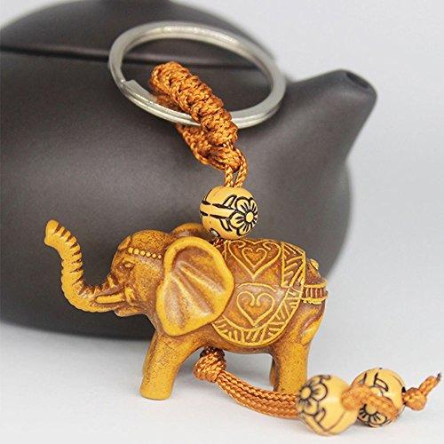 Gemini_mall Pack of 2 Lucky Elephant Keychain Key Ring Lovely Animal Pendant Evil Defends Keyring (Brown)