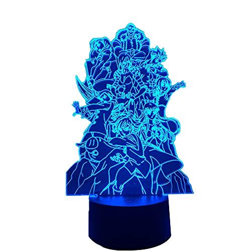 Lâmpada LED 3D Anime The Seven Deadly Sins Group para quarto, luz noturna decorativa, presente de aniversário, acrílico LED luz noturna equipe de mangá