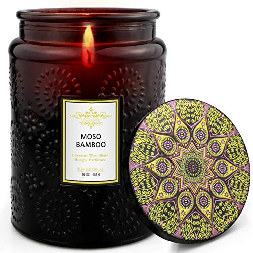 TOFU Scented Candles, 16 Oz Luxury Coconut Wax Candle, 150 Hours Burn, Long Lasting and Highly Scented Natural Aromatherapy Candle for Stress Relief and Body Relaxation, Moso Bamboo