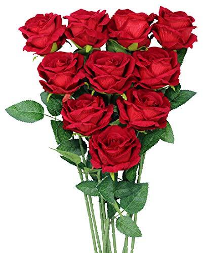 Omygarden 10 STÜCKE rote Seidenblumensträuße, künstliche Rose, Brautsträuße, Hochzeit Home Office Gartendekoration