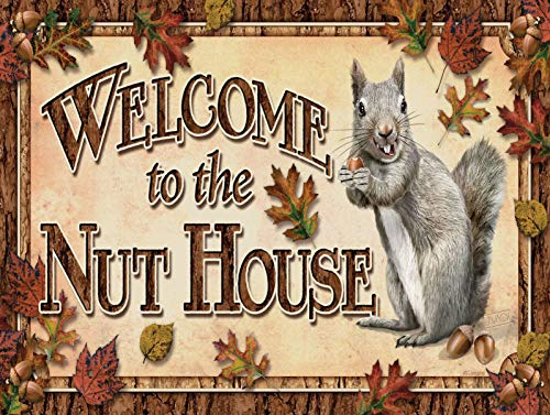 Nxsbns Welcome to The Nut House Retro Vintage Plaque Home Decor Metal Tin Sign 12' X 8'