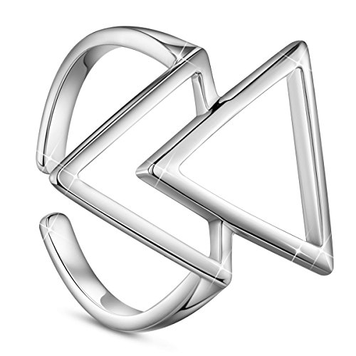 SHEGRACE Damenring Offen aus Reinem Silber 925 Sterling Ornament Zwei Dreiecke Einfache Moderne, Platin