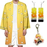 Aramomo Set de Disfraz Anime Cosplay Tanjirou Zenitsu Tomioka Nezuko Juego de Disfraz Manga Kimono Japonés Albornoz Para Hombre Mujer Adolescentes con Pendientes Llavero (Zenitsu, XL)