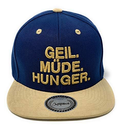Outfitfabrik Snapback Cap Geil. Müde. Hunger in dunkelblau, Schirm in beigefarbener Alcatara-Optik, 3D-Stick (Lifestyle, Provokation, Statement) für Männer und Frauen, verstellbar