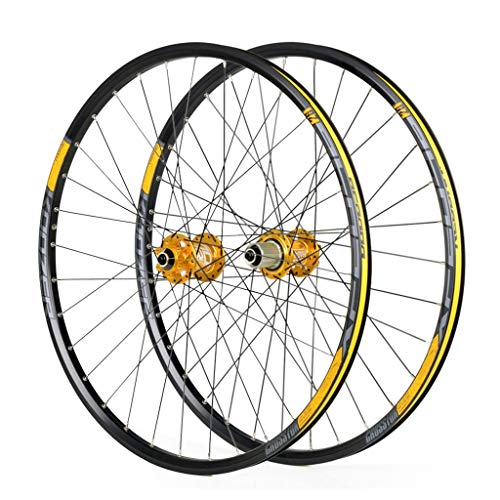 LSRRYD Double Wall Bike Wheelset for 26 27.5 29 inch MTB Rim Disc Brake Quick Release Mountain Bike Wheels 24H 8 9 10 11 Speed (Color : Gold, Size : 29inch)