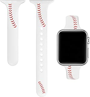 Yutior Sport Band Compatible with iWatch 38mm 40mm 42mm 44mm, Slim Soft Silicone Men Women Large Small Wristbands Baseball Strap for iWatch Series 5, 4, 3, 2, 1 Nike+, Sport & Edition Black
