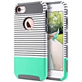 ULAK iPhone 7 Hülle, [Bunte Serie] Stylische Marmor Muster Schutzhülle Dual Layer Hybrid Handyhülle Dünn Hülle Cover für iPhone 7 [4,7 Zoll] - Mint Green Streifen