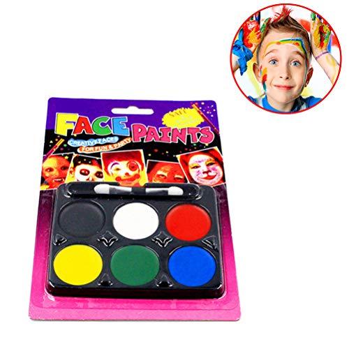 Weesey Gesicht malen Palette - 6 Farben ungiftig professionelle Palette waschbar sicher Facepainting für Halloween-Party, Urlaub Make-up Body, Face Paint Kit Body Painting Kit