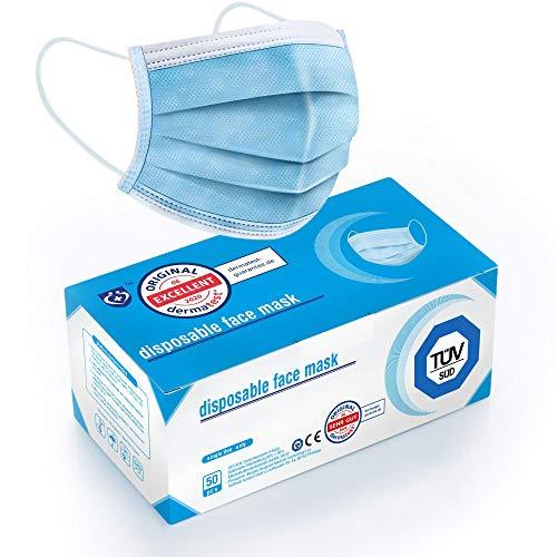 """Test """"SEHR GUT"""" - 50x TÜV zertifizierte Masken Visier Medizinische Mundschutz Maske - TYP II BFE 98% 3-lagige Gesichtsmaske EN 14683:2019 Atemmaske Atemschutzmaske"""