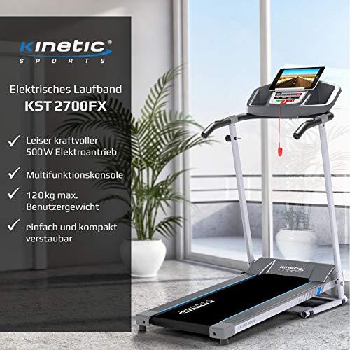 Kinetic Sports KST2700FX Laufband klappbar elektrisch 500 Watt leiser Elektromotor, 12 Pogramme, bis 120 kg, GEH- und Lauftraining, Tablethalterung, stufenlos einstellbar bis 10 km/h - 2