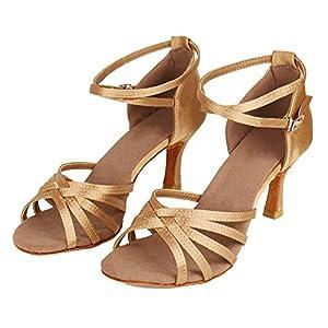 HROYL Zapatos de Baile Latino Mujer Salsa Tango Bachata Vals Zapatos de Baile de Salon,213-Beige-7, EU 40