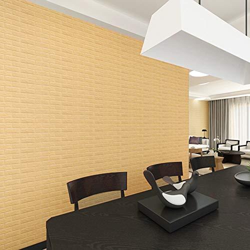 jieGorge New PE Foam 3D Wallpaper DIY Wall Stickers Wall Decor Embossed Brick Stone Khaki, Home Decor Sales (Khaki)