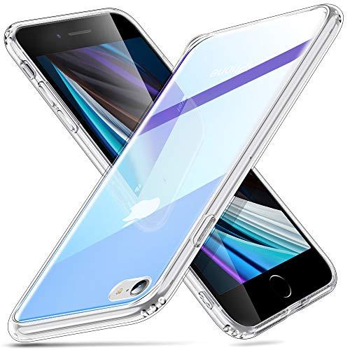 ESR Kompatibel mit iPhone 8 Hülle/iPhone 7 Hülle,Hochwertig Gehärtetes Glas Handyhülle TPU Rahmen [Stoßfest] [Kratzfest] Crystal Clear Durchsichtige Schutzhülle Glashülle für iPhone 8/7-Violett+Blau