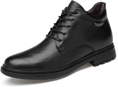 Shufang-chaussures Bottines pour Hommes Nouveau Haut de de Gamme en Cuir Haut Haut Bout Rond Lacet Chaussures de Travail décontractées (Coton Chaud en Option) (Couleur   Noir, Taille   47 EU)  magasin d'usine de sortie