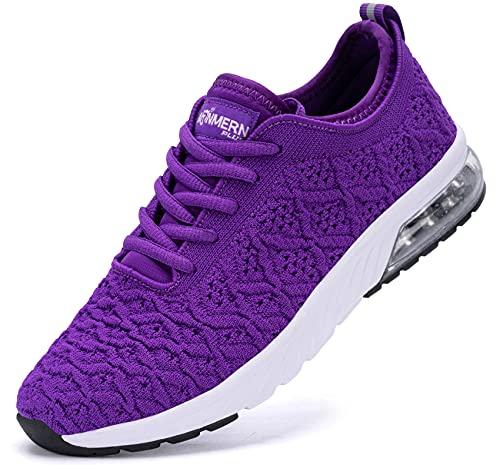 LARNMERN Zapatos de Running para Mujer Transpirables Deportivas para Correr Fitness Atlético Caminar Sneakers(Morado 41)