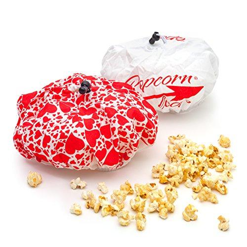 Popcornloop 2 x Ersatzhauben Doppelpack Original und Herzchen Design Geeignet Für Popcornloop Mais Popcornmaschine 100% Baumwolle Waschmaschinenfest