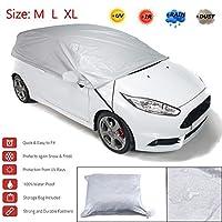 車カバー アルミシルバーサンシェードハーフカーカバー防ぐヒート日雨雪サイズM L XL (Size : L)