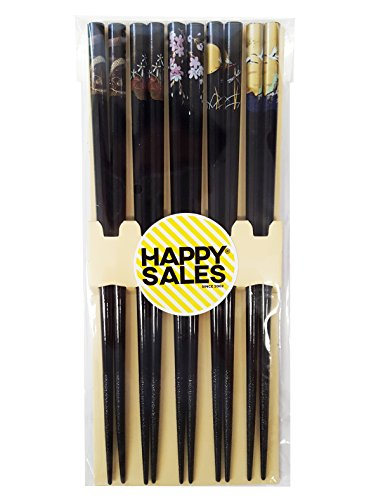 Happy Sales HSCH85/S, Bamboo Chopsticks Gift Set Crane Design, Scenery Black