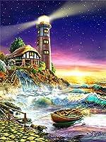 子供と大人のためのDIYペイントバイナンバーズキット 灯台 ペイントブラシ付きのナンバーズペイント、アクリル絵の具40x50cm(額装なし)