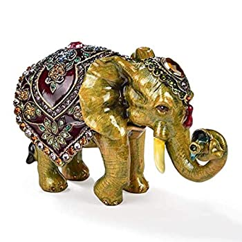 KALIFANO Elephant with Headdress Jewelry Box/Stash with Swarovski Element Crystals and Gemstones Made for Storage and Organization - Handmade Earring Necklace and Ring Box  Collectible Oranament