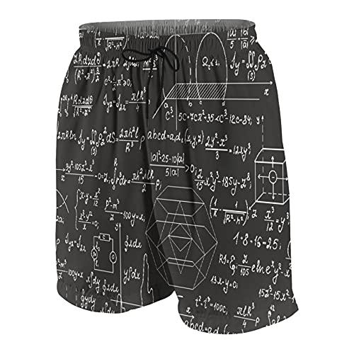 Alvaradod Bañador Personalizado para Hombre,fórmulas físicas,Ecuaciones escritas a Mano con Tiza sobre una Pizarra Gris,Ropa de Playa,bañadores,bañadores,bañadores M