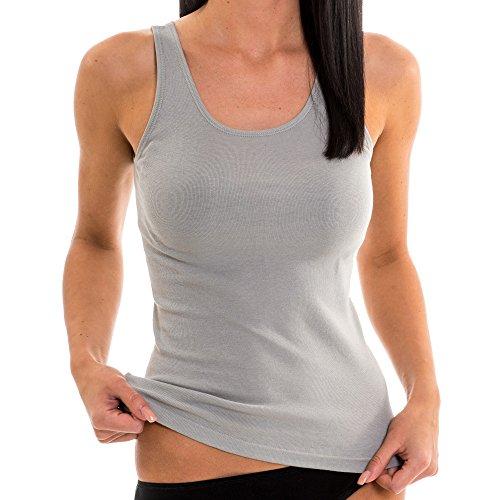 HERMKO 1310 Damen Unterhemd aus Reiner Bio-Baumwolle, Farbe:grau, Größe:44/46 (L)