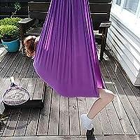 屋内療法スイング 子供のための感覚スイング 調節可能な弾性ナイロンスイング な 抱擁ハンモック 感覚のニーズを持つ人々に落ち着いた効果を持っています 空中ヨガハンモックキット (Color : Dark purple, Size : 1.5x2.8m)