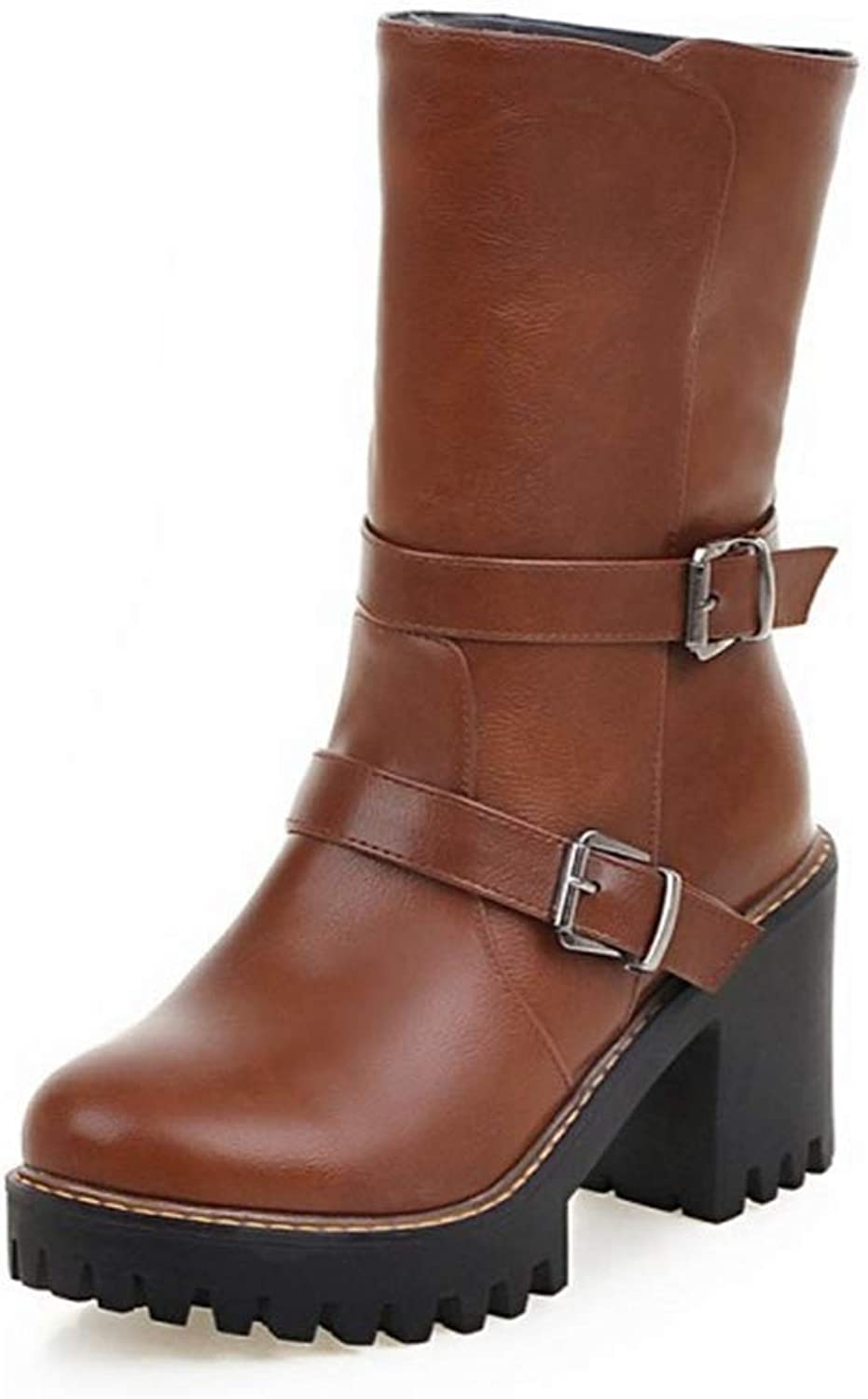 CYBLING Women's Stylish Round Toe Buckle Strap Mid-Calf Riding Boots Platform Chunky Heel Winter shoes