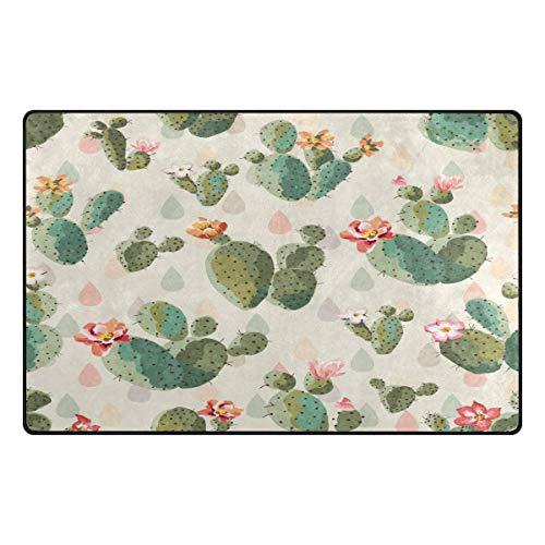 Joe-shop Alfombra de área Cactus Lindo Plantas Tropicales Crema Comedor Dormitorio Alfombra Alfombra de Piso Decoración del hogar 60x39 Pulgadas / 150x100cm