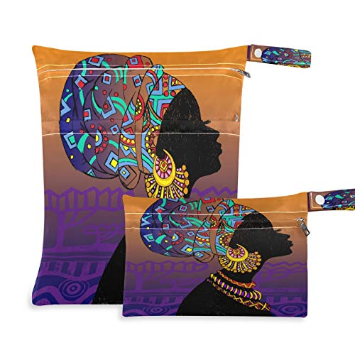 Qilmy Wet Bag Baby Cloth Diaper Nappy Bag Reusable,Beautiful Traditional African Black Women Wearing Turban Gold Earrings Necklace Waterproof Storage Bags for Swimwear, Bathing Suit, Soiled Baby Items