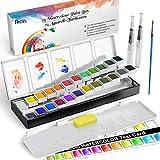 Caja de Acuarelas RATEL Set de Pintura de Acuarelas Incluye 24 colores Pigmento sólido, 1 Brocha, 2 Pinceles para tanque de agua, Pigmento de Acuarela Soluble y de Mezcla, Colores de Acuarela conjunto