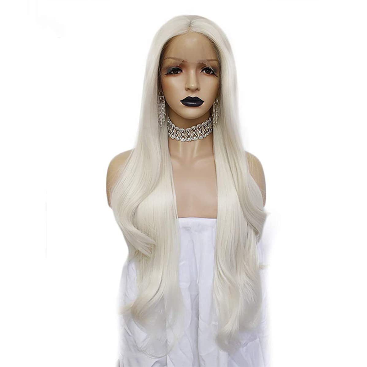 Anogol Hair Cap+ Platinum Blonde Lace Front Wig for Women 613 Wig Long wavy wig lace front Synthetic Wig with Middle Part Body Wave Lace Front Wig 180% for Cosplay Party