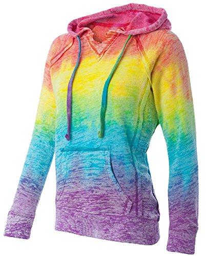 Koloa Surf Co.(tm) Womens Rainbow Stripe V-Neck Burnout Hoodies - Large