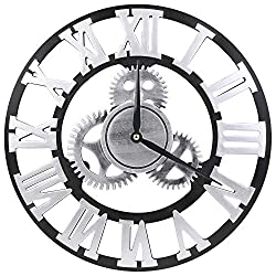 VIKMARI 14 inch Noiseless Gear Wall Clock - Retro Rustic Country Roman Numeral Wooden 3D Vintage Round Non-Ticking Silent Quartz Wall Clocks Home and Office Art Decoration Sliver Clocks